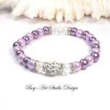 Gyöngy karkötő - 6 mm-es lila és kristály gyöngyökből apróköves köztessel
