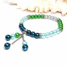 Gyöngy karkötő - 6 mm-es zöld gyöngyök medálokkal