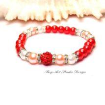 Gyerek karkötő - piros rózsaszínnel és fehérrel - HERCEGNŐKNEK