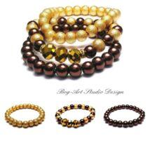 Gyöngy karkötők - Arany-barna kollekció