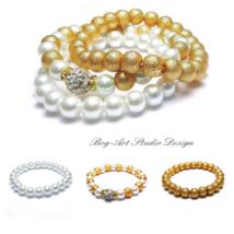 Gyöngy karkötők - Arany-fehér kollekció