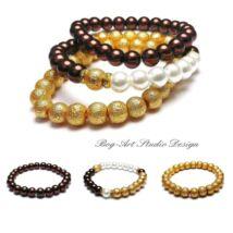 Gyöngy karkötők - Arany-fehér-barna kollekció