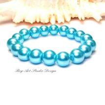 Gyöngy karkötő - 10-es Cián színű gyöngyökből