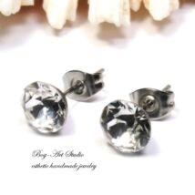 Ausztria gyöngy beszúrós fülbevaló gyémánt alakú kövekből - 6 mm - CRYSTAL