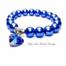 Béke és nyugalom karkötője - Swaroski medálok kék Tekla gyöngy karkötő