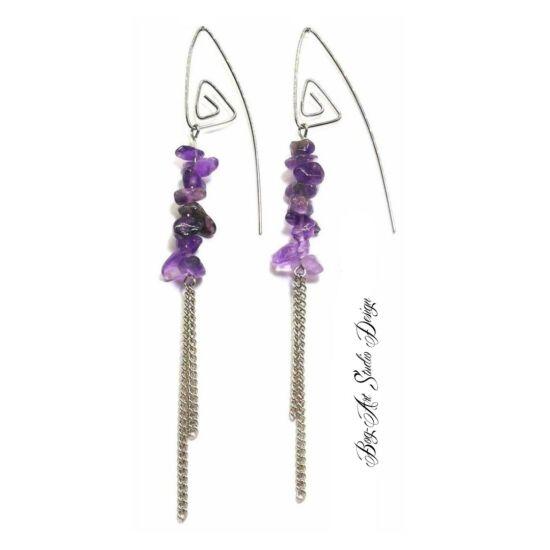 Bog-Art Studio - Ametiszt fülbevaló - szemcsekövek spirálfülcsin