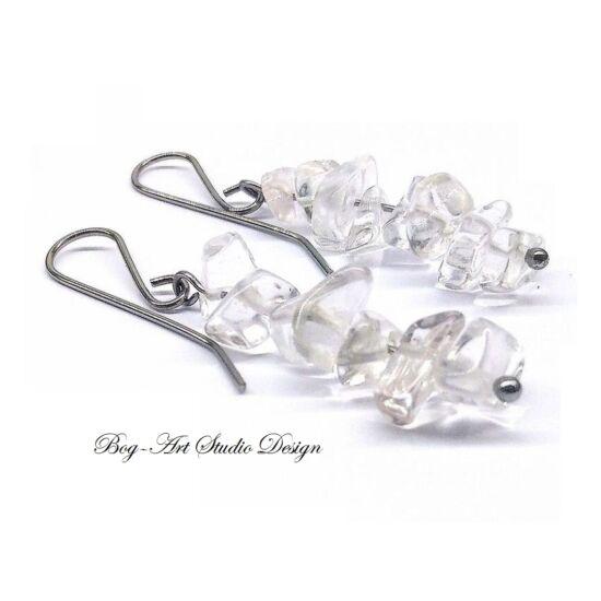 Bog-Art Studio - Hegyikristály fülbevaló aprókövekből