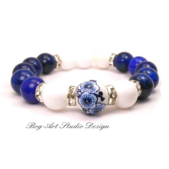 Bog-Art Studio - Stresszoldó, immunrendszer regeneráló Lápis Lazuli karkötő - 10 mm