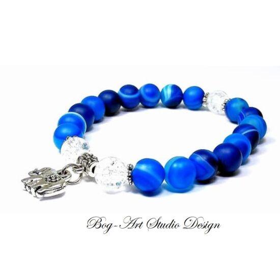 Achát karkötő kék matt gyöngyök roppantott hegyikristály gyöngyökkel és elefánt medállal