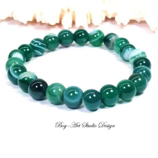 Achát karkötő 8 mm-es gyöngyből zöld színben