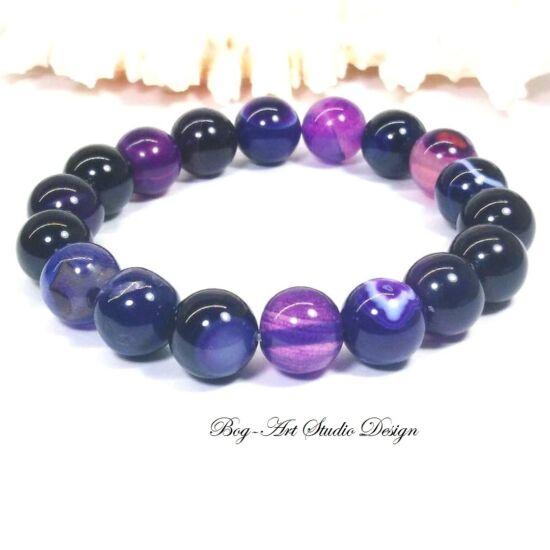 Achát karkötő 10 mm-es gyöngyből lila színben