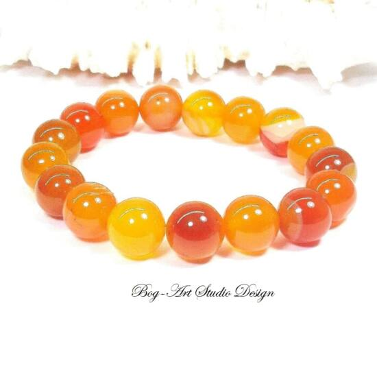 Achát karkötő 10 mm-es gyöngyből narancssárga színben