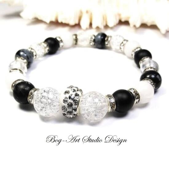 Hegyikristály karkötő roppantott gyöngyökből Obszidián és Jáde gyöngyökkel