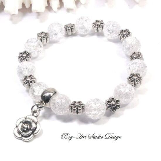 Hegyikristály karkötő Virág medállal és köztesekkel