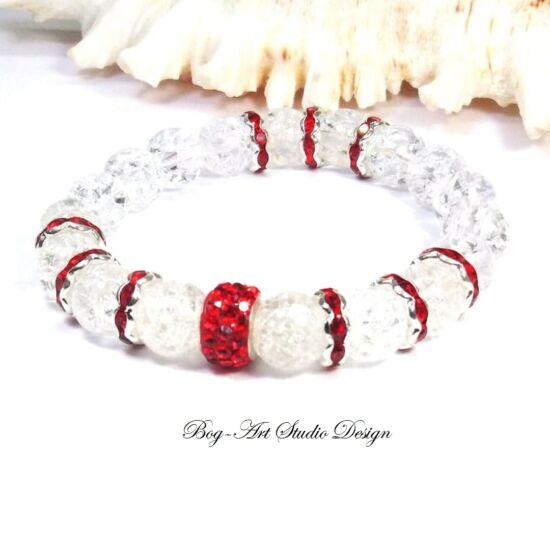 Hegyikristály karkötő piros kristály köztesekkel
