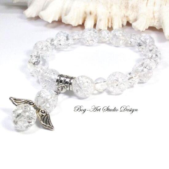 Hegykristály karkötő angyalka medállal