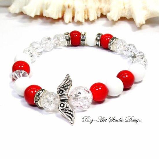 Hegyikristály karkötő Korall és Jáde gyöngyökkel angyalszárnnyal