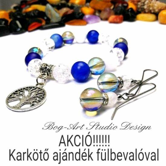 Achát-Jáde-Hegyikristály-Aurakvarc karkötő életfa medállal