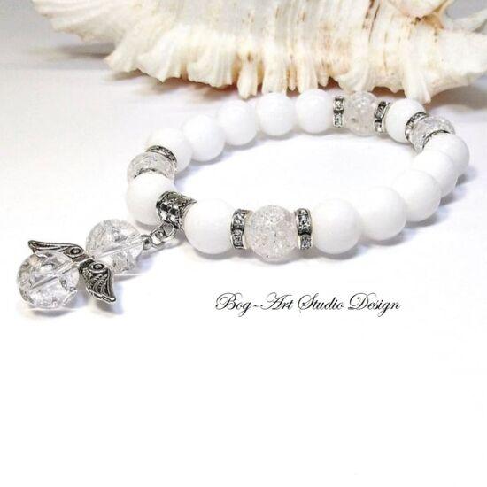 Jáde karkötő Hegyikristály angyalkával