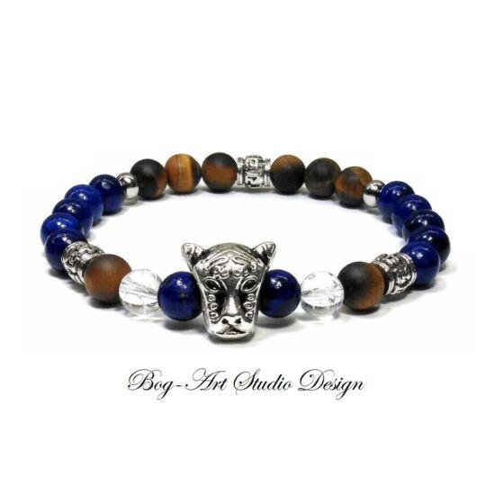 Lápis Lazuli karkötő tigrisszem gyöngyökkel és tigris fejjel