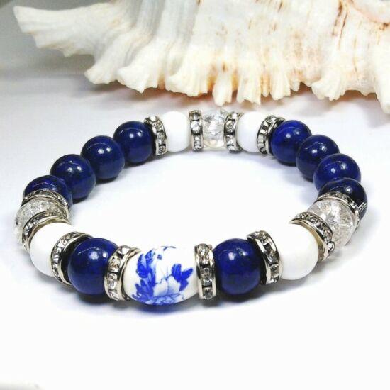 Lápis lazuli karkötő porcelán medállal
