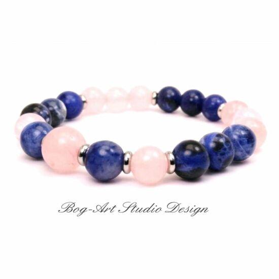 Bog-Art Studio - Nyugalom és Szeretet karkötő Lápis Lazuli és Rózakvarc 8mm
