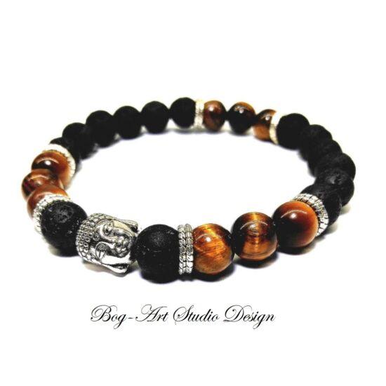Lávakő karkötő tigrisszem gyöngyökkel és Buddha köztessel