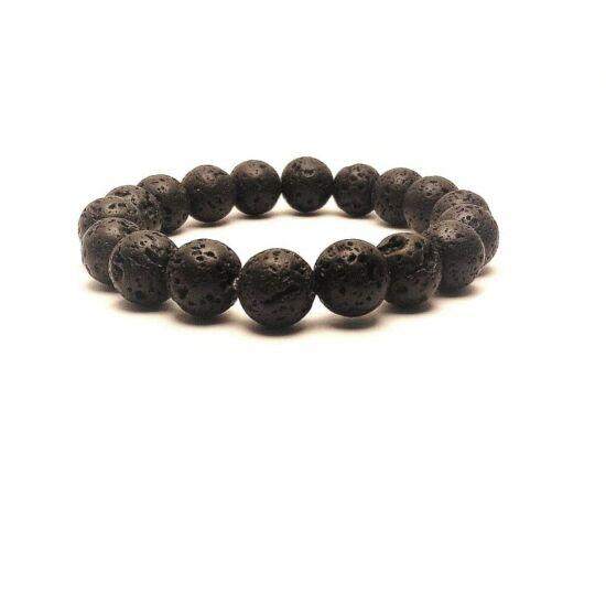 Méregtelenítő, serkentő és egyben nyugtató hatású, aromaterápiához ajánlott Lávakő karkötő fekete - 10 mm