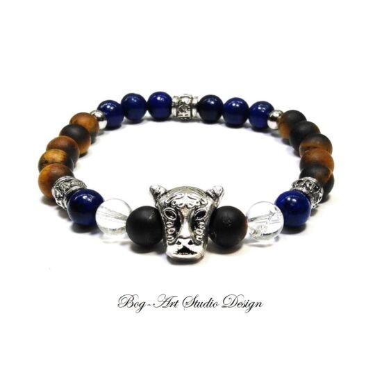 Tigrisszem karkötő lápis lazuli gyöngyökkel tigris fejjel