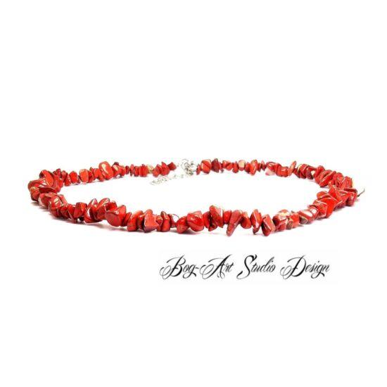 Bog-Art Studio - Vörös Jáspis nyaklánc szemcsekövekből