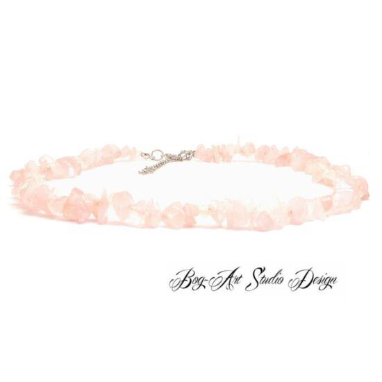 Bog-Art Studio - Rózsakvarc nyaklánc szemcsekövekből