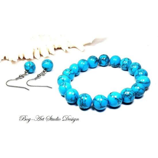 Howlit karkötő és fülbevaló 10 mm-es kék gyöngyökből