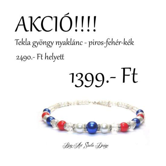 Bog-Art -Tekla gyöngy nyaklánc - piros-kék-fehér