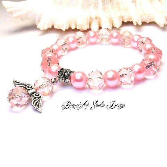 Bog-Art Studio - Rózsaszín kristály angyalka karkötő - 8 mm
