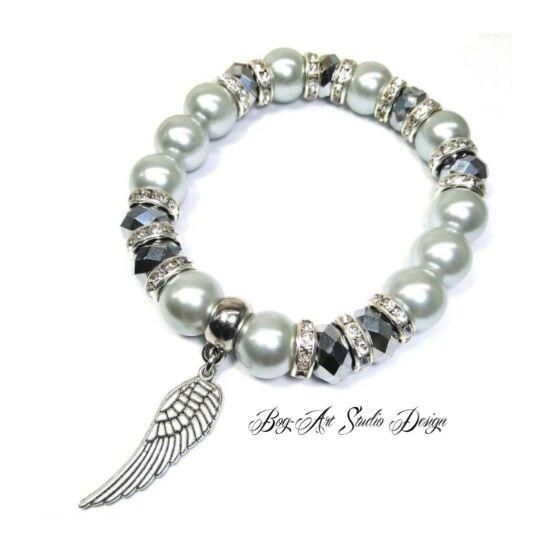 Bog-Art Studio - Ezüst angyali csillogás gyöngy karkötő - 10 mm