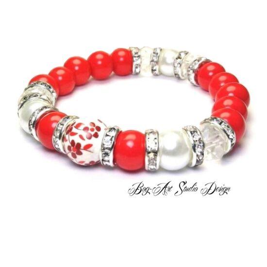 Bog-Art Studio - Piros gyöngy karkötő - kristály és porcelán köztesekkel