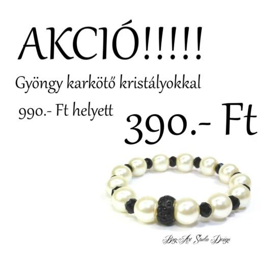 Bog-Art Studio - Krèmfehér gyöngy karkötő fekete kristályokkal - 10 mm