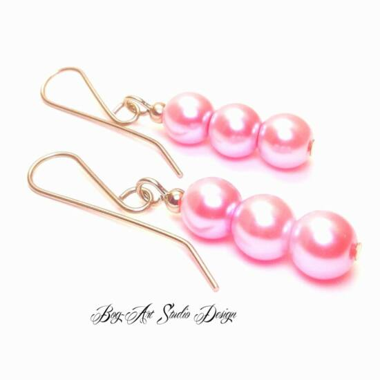 Bog-Art Studio - Tekla gyöngy fülbevaló - 8 mm - 3 szem - rózsaszín