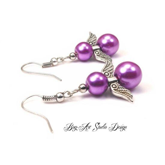 Tekla gyöngy fülbevaló - világos lila angyalka