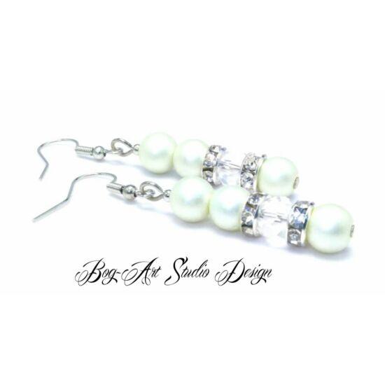 Bog-Art Studio - Gyöngy fülbevaló - 3+1 szem gyöngy kristállyal - matt fehér