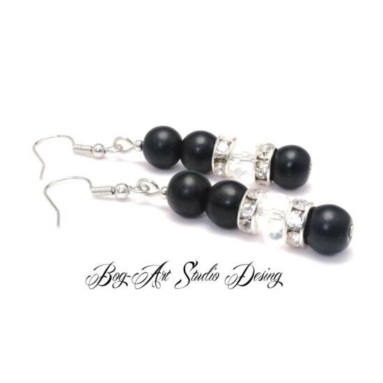 Bog-Art Studio - Gyöngy fülbevaló - 3+1 szem gyöngy kristállyal - matt fekete