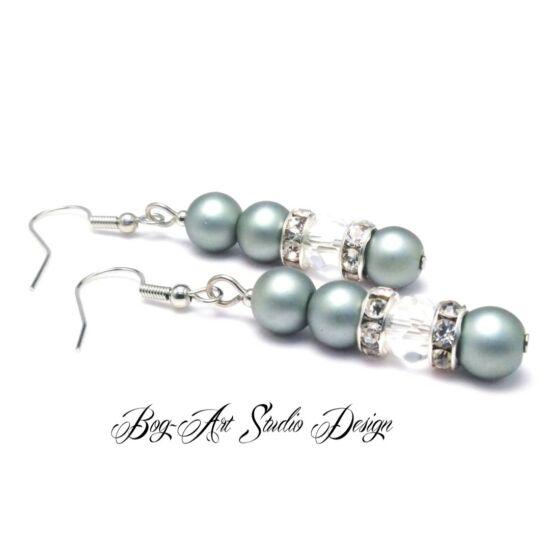 Bog-Art Studio - Gyöngy fülbevaló - 3+1 szem gyöngy kristállyal - matt ezüst