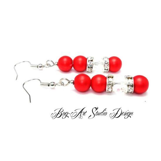 Bog-Art Studio - Gyöngy fülbevaló - 3+1 szem gyöngy kristállyal - matt piros