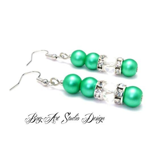 Bog-Art Studio - Gyöngy fülbevaló - 3+1 szem gyöngy kristállyal - matt sötétzöld