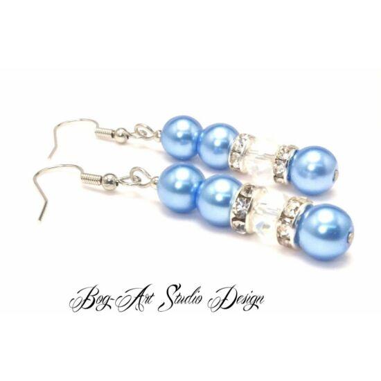 Bog-Art Studio - Gyöngy fülbevaló - 3+1 szem gyöngy kristállyal - égkék