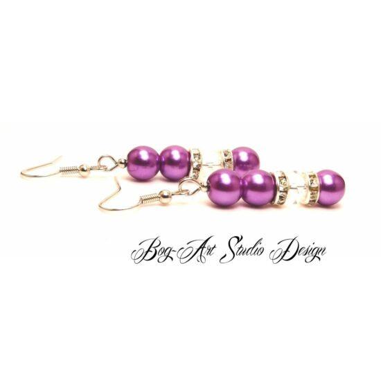 Bog-Art Studio - Gyöngy fülbevaló - 3+1 szem gyöngy kristállyal - világos lila