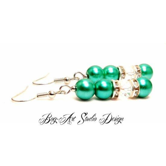 Bog-Art Studio - Gyöngy fülbevaló - 3+1 szem gyöngy kristállyal - sötét zöld