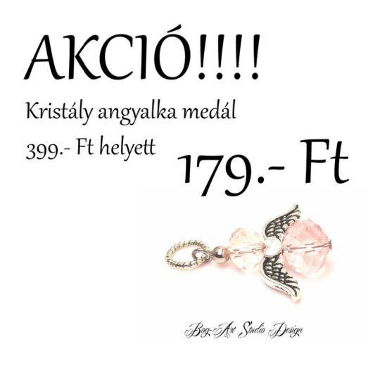 Bog-Art Studio - Kristály angyalka medál - halvány rózsaszín