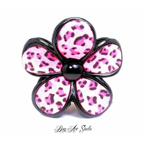 Bog-Art Studio - Hajcsat - Virág - 70x70 mm - fekete-rózsaszín mintás