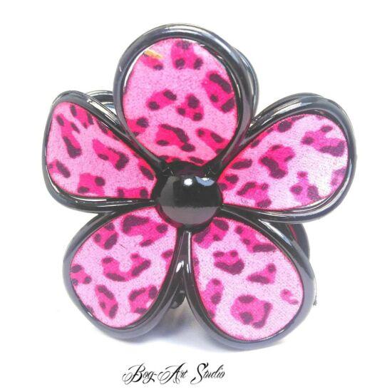 Bog-Art Studio - Hajcsat - Virág - 70x70 mm - fekete-sötét rózsaszín mintás